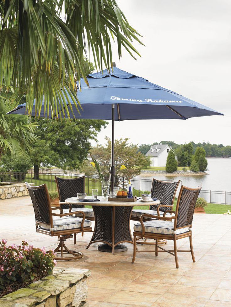 Island Estate Lanai Outdoor Round Dining Table And Four Outdoor Chairs From  Tommy Bahama Outdoor Living