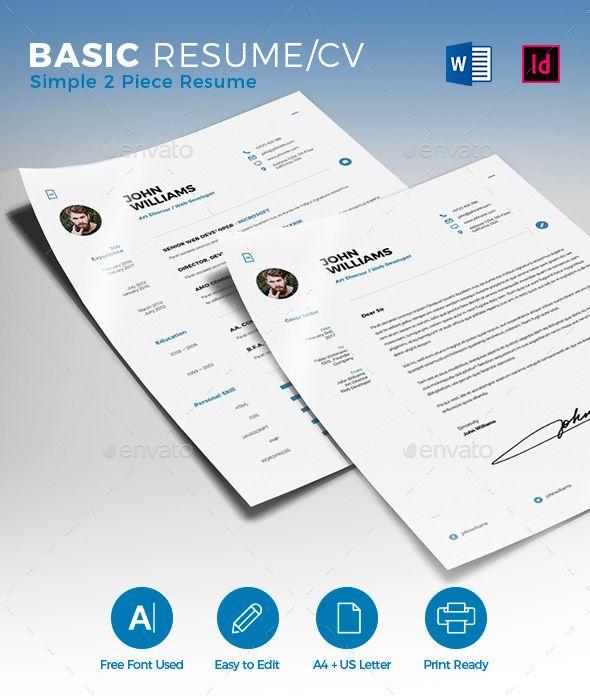 Basic Resume/CV - #Resumes Stationery Download here: https://graphicriver.net/item/basic-resumecv/19468183?ref=alena994