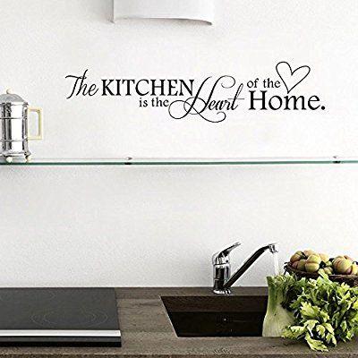 "ufengke® ""The Kitchen Is The Heart Of Home"" Citazioni di e Proverbi Adesivi Murali, Sala da Pranzo Cucina Adesivi da Parete Removibili/Stickers"
