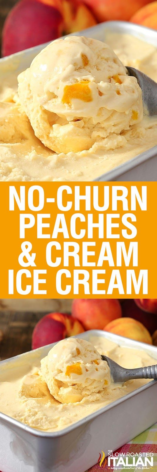 No-Churn 2-Ingredient Peaches & Cream Ice Cream is rich, thick and amazingly delicious. And it does NOT use sweetened condensed milk.