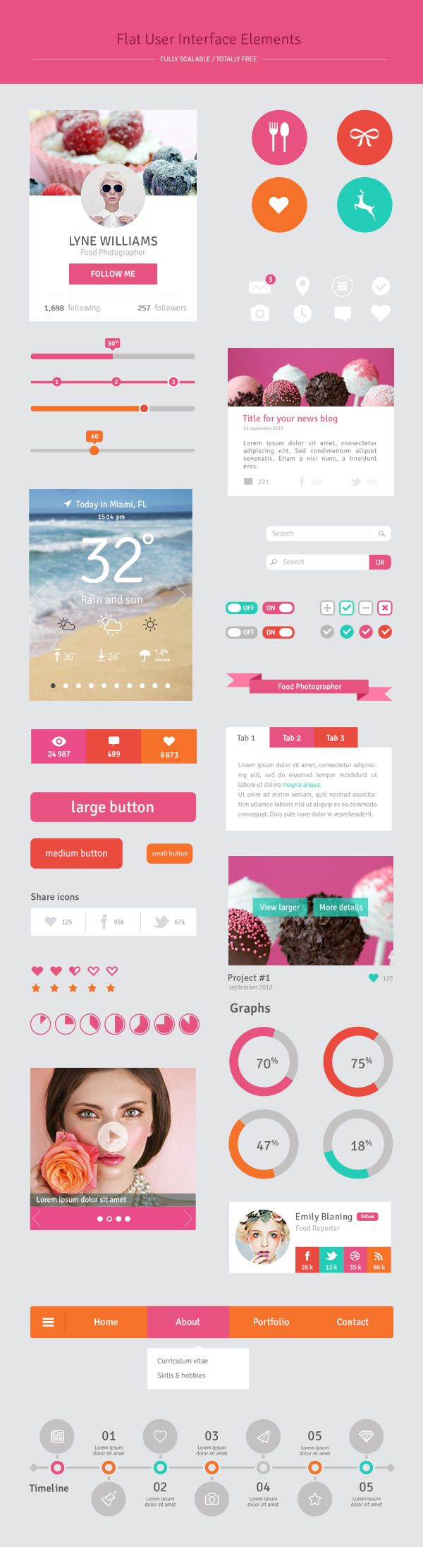 Freebie – Free Flat UI Elements