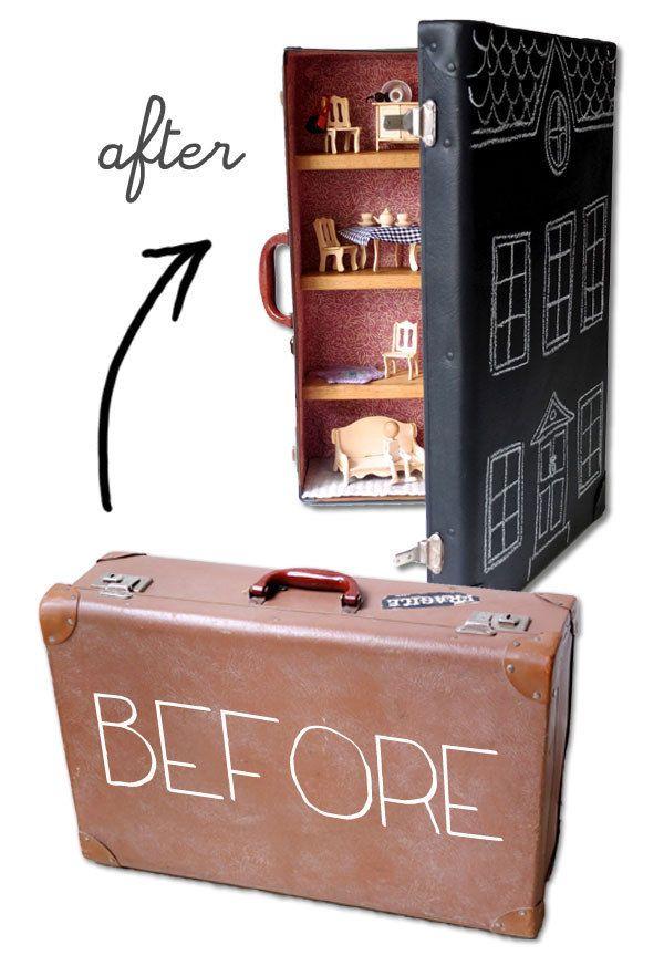 Une vieille valise transformée en maison de poupées. | 28 objets du quotidien à transformer pour vos enfants