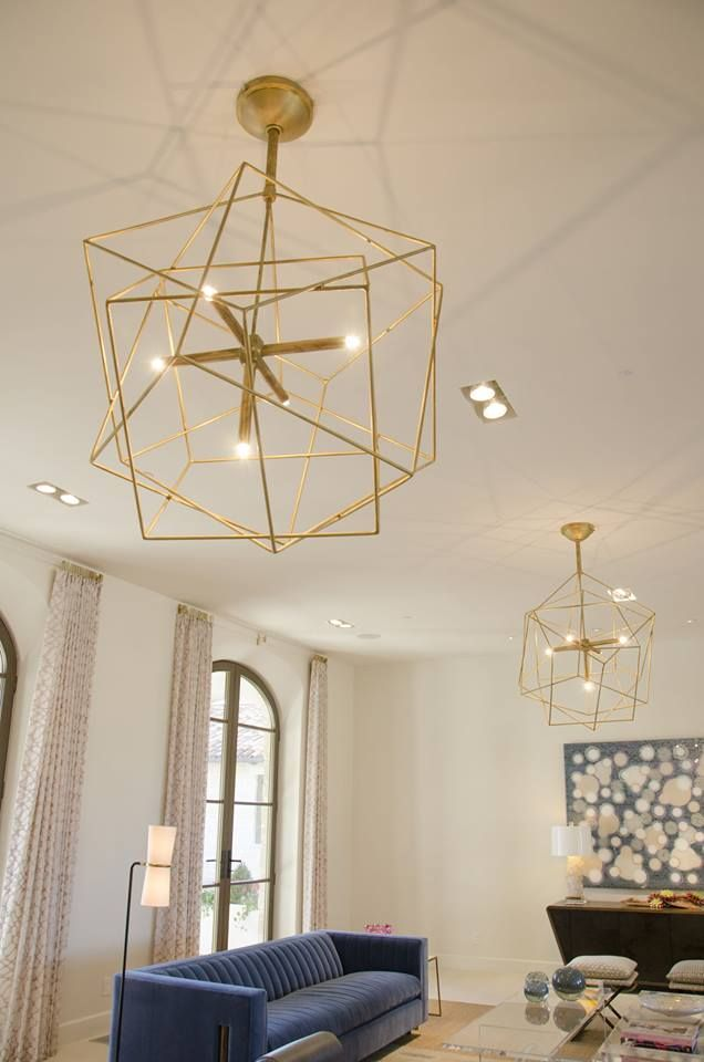 Modern Lighting Chandelier Geometric And Modern Gold Design Perfect Combined With Blue Accents Modern Lighting Chandeliers Custom Lighting Lighting