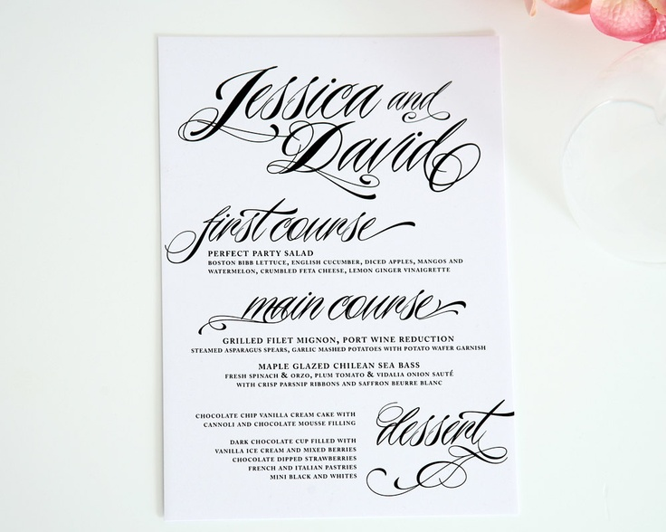Wedding Dinner Menus - Ravishing Script - Deposit. $100.00, via Etsy.