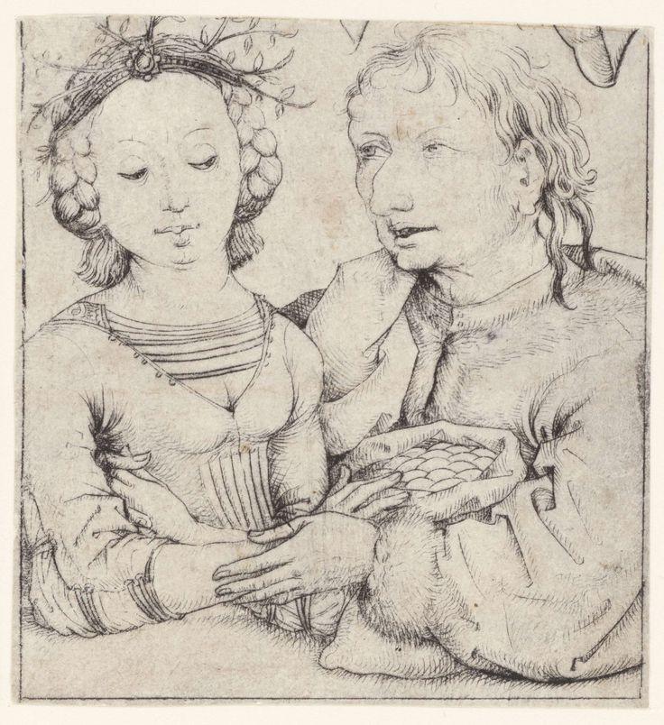 Meester van het Amsterdamse Kabinet | Jonge vrouw en oude man, Meester van het Amsterdamse Kabinet, 1475 - 1480 | Ongelijk liefdespaar: oude man omarmt een jonge vrouw. De vrouw met bruidskrans op het hoofd, loert naar de geldzak tussen hen in.