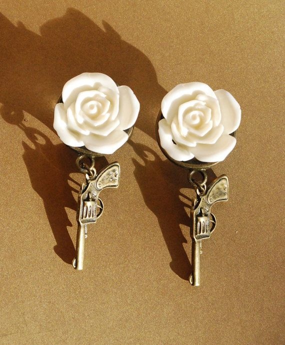 French White Rose Shotgun Wedding Plugs  2g 0g 00g 1/4 by ryarr