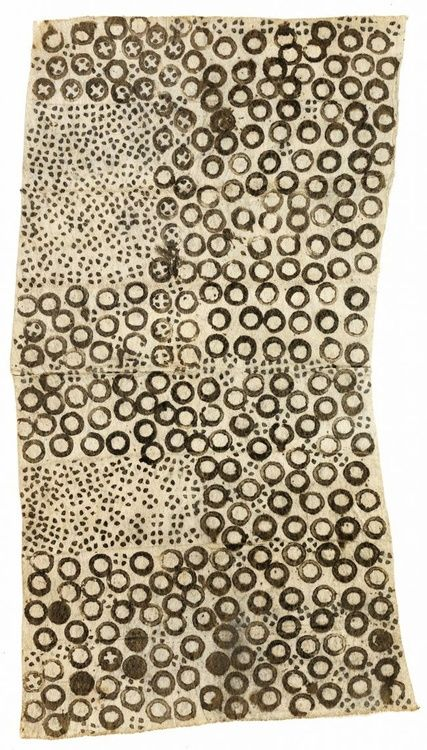 Africa | Barkcloth 'Pongo' from the Mbuti people of the Ituri Forest of DR Congo | 20th century | Beaten bark from ficus tree, stamped and drawn with natural pigment