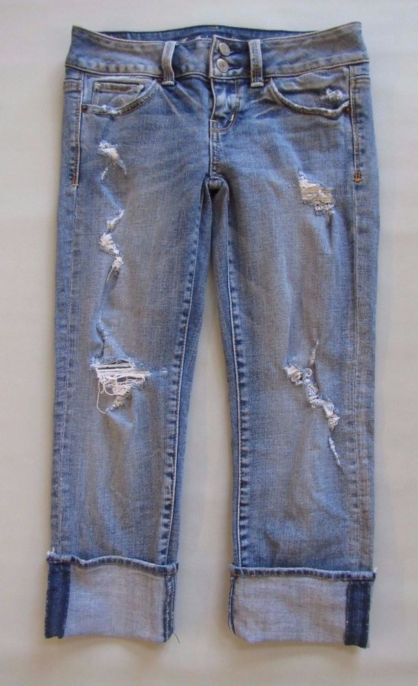 "American Eagle Artist Crop Jeans 0 Cropped Light Distressed wash Denim Capri 25"" #AmericanEagleOutfitters #CapriCropped"