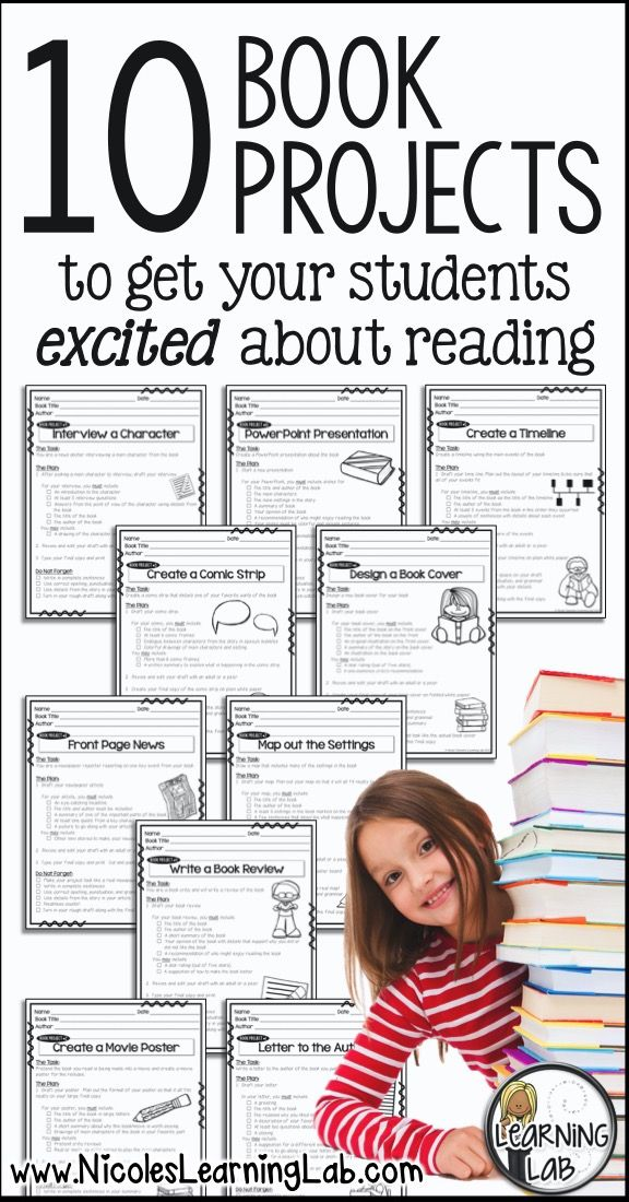 Book Projects to get your students excited for reading.  These projects can be used with any book.  Project trackers are included so students do not keep repeating the same projects.  BONUS pages are sized down to fit into interactive notebooks for reading workshop.