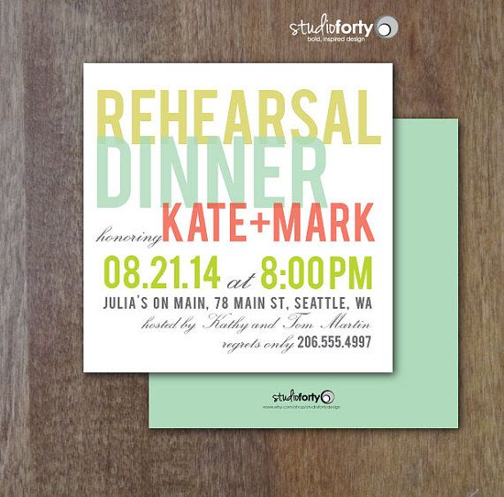 Sherbet Rehearsal Dinner Invitation SET OF 20 by studiofortydesign, $30.00