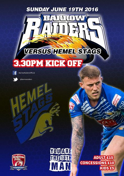Barrow Raiders v Hemel Stags http://www.cumbriacrack.com/wp-content/uploads/2016/06/Barrow-Raiders-v-Hemel-Stags.jpg Directors and Coaching staff are calling all supporters to turn up in numbers this Sunday for the visit of Hemel Stags to Craven Park 3.30pm KO.    http://www.cumbriacrack.com/2016/06/15/barrow-raiders-v-hemel-stags/