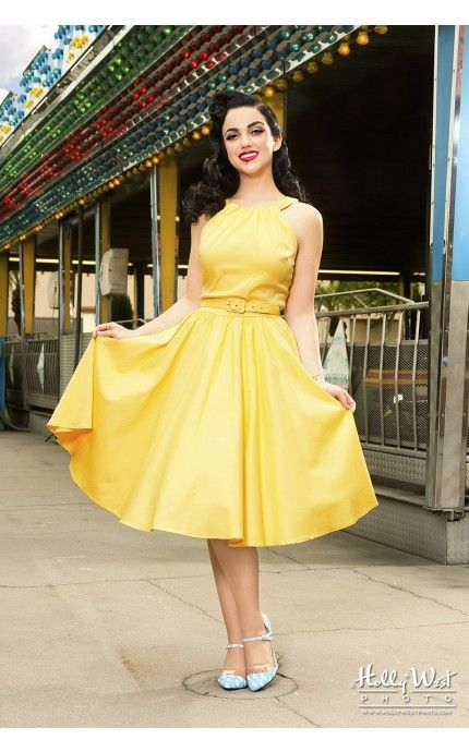 Pinup Couture- Harley Dress in Pastel Yellow | Pinup Girl Clothing