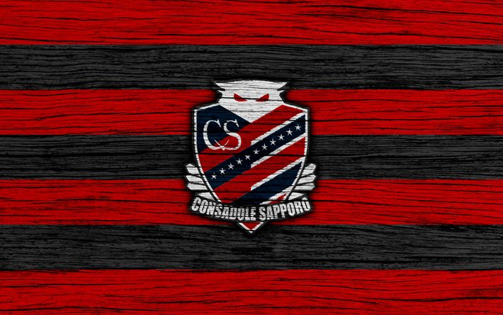 Download wallpapers Consadole Sapporo, 4k, emblem, J-League, wooden texture, Japan, Consadole Sapporo FC, soccer, football club, logo, FC Consadole Sapporo