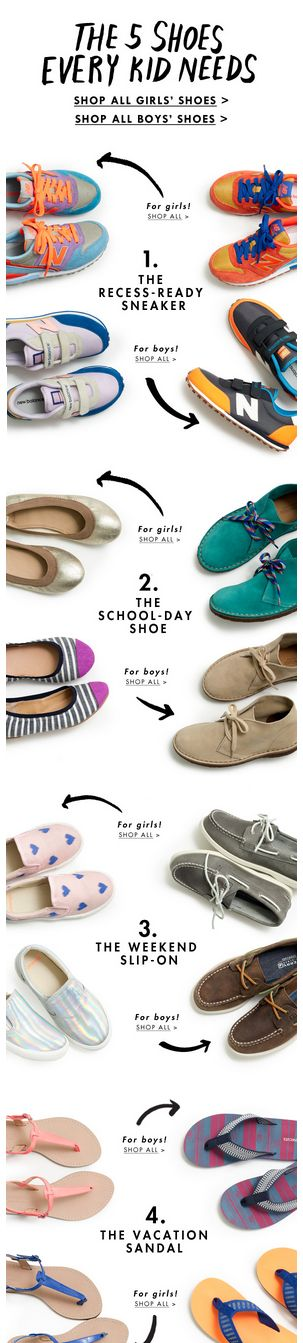 Jcrew: Our shoe guide for kids is here