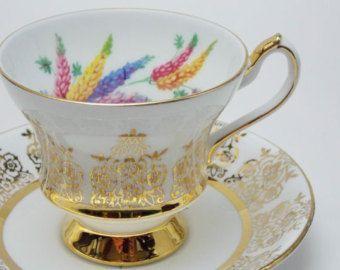 Šálek na čaj * bílý zlatem zdobený porcelán s vnitřně malovaným barevným obilím ♥