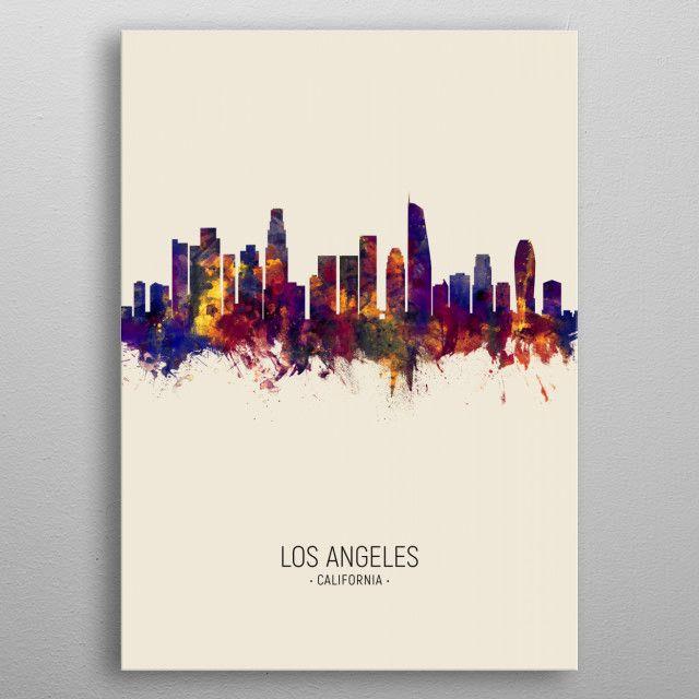 Los Angeles Skyline Poster Print By Michael Tompsett Displate In 2020 Poster Prints Los Angeles Skyline Print Artist