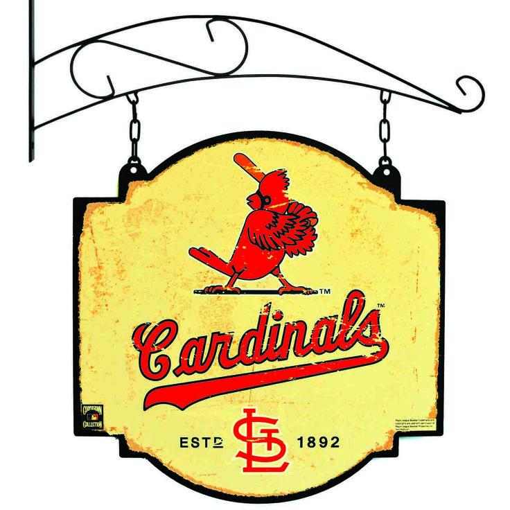 """This 16"""" x 16"""" metal sign is printed on both sides with St. Louis Cardinals logos and has been made to look like an old fashioned tavern sign. It comes with a bracket that allows the sign to be hung, or you can ignore the bracket and affix the sign directly to a wall."""