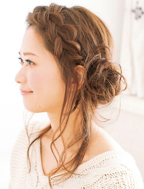 前髪編み込みヘアー。女子必見☆女の子らしいガーリースタイルの編み込みアレンジの参考一覧です!
