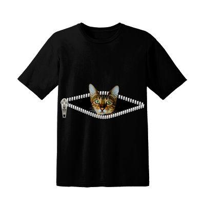 T Shirt Zipper Cat Design Black