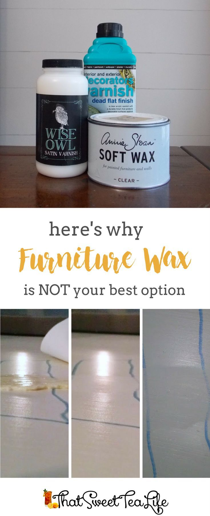 This is why Furniture Wax is not your best option on Chalk Painted Furniture by That Sweet Tea Life | How to Top Coat | How to use Furniture Wax | How to paint Furniture | How to Seal Furniture | Furniture Makeover DIY | Furniture Wax Finish | Furniture Waxing Tips | How to use Furniture Wax | Furniture Painting Tips | Soft Wax | Owl Wise | Chalk Paint