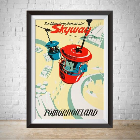 DISNEYLAND VINTAGE TRAVEL POSTER Skyway Tomorrowland