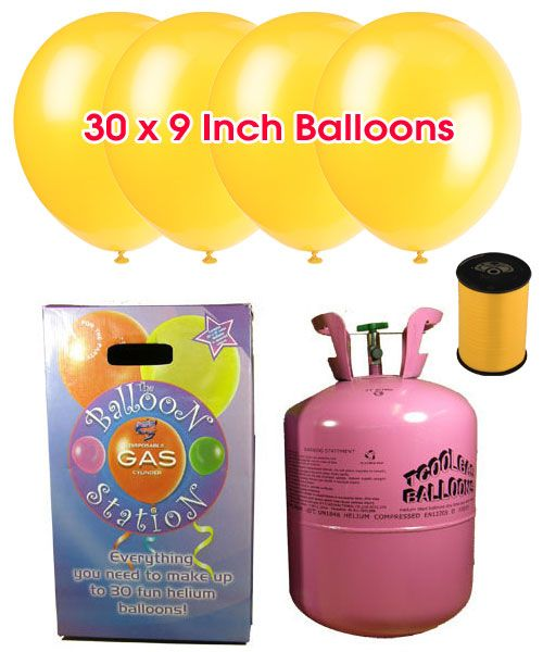 Disposable Helium Gas Cylinder with 30 Yellow Balloons and Curling Ribbon included | Partyrama.co.uk