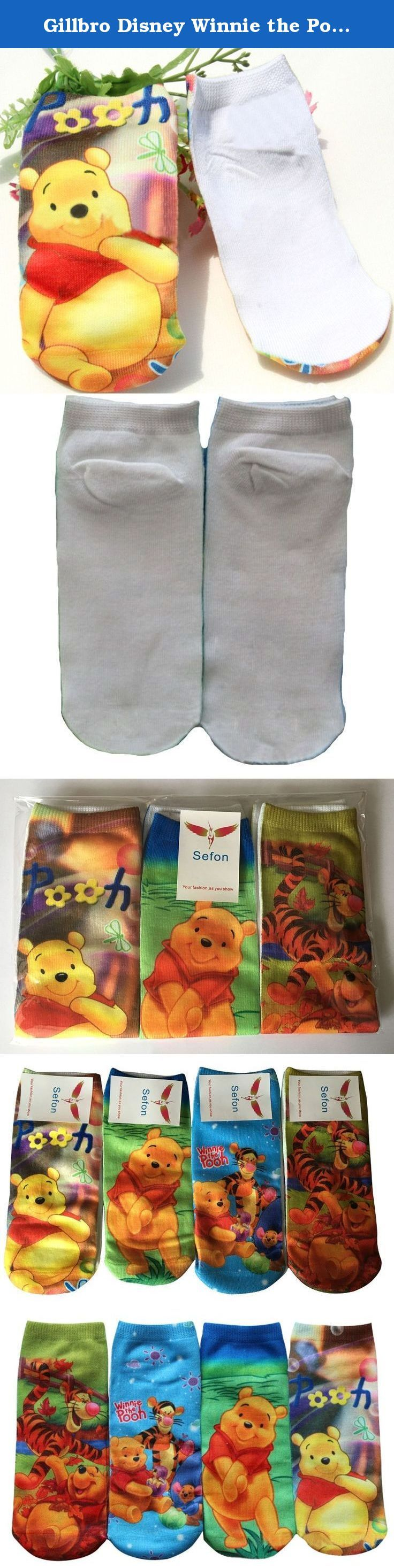 Gillbro Disney Winnie the Pooh Ankle Socks 4 Pairs, 5-8 Years Old. Super cute Disney Winnie socks made from a high quality cotton blend. The height comes to your ankle bone. Size 2-4T: feet length is 11cm,sock heigh is 5cm. It fit for 2-4 years, fit for feet size 13-16cm. Size 5-8T: feet length is 15cm,sock heigh is 5cm. It fit for 5-8 years, fit for feet size 17-21cm.