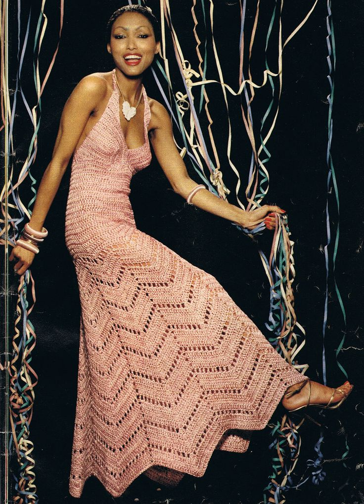 Vintage Crochet Chevron Dress.  http://www.etsy.com/listing/82738690/long-halter-neck-crochet-evening-dress