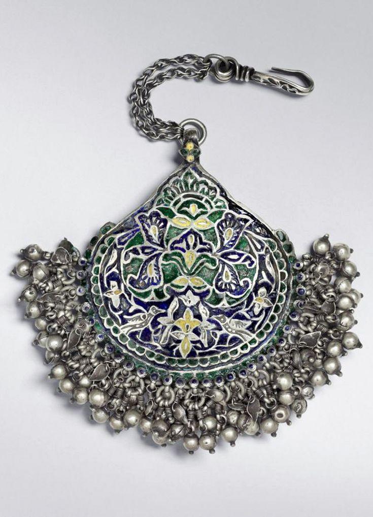 India | Forehead ornament ~ Chiri Tikka ~ from Kangra, Himachal Pradesh | Silver and enamel | 19th century