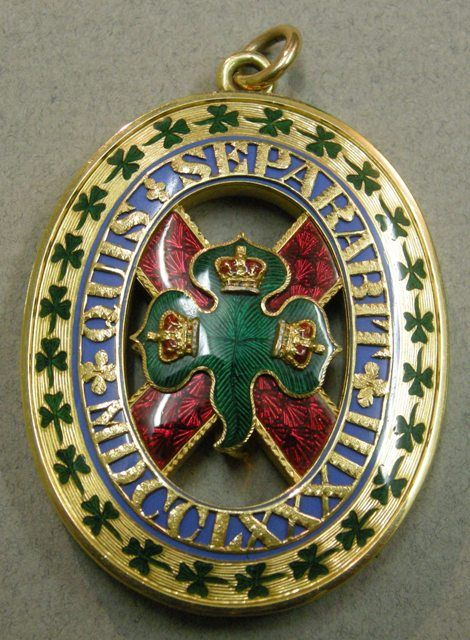 The Duke of Connaught's small oval Badge of the Order of St Patrick, 1843, may originally have been acquired by Prince Albert.