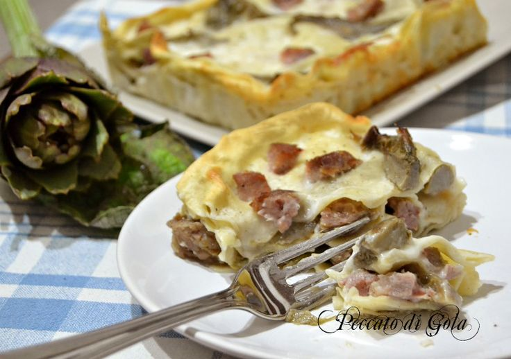 Lasagne salsiccia e carciofi