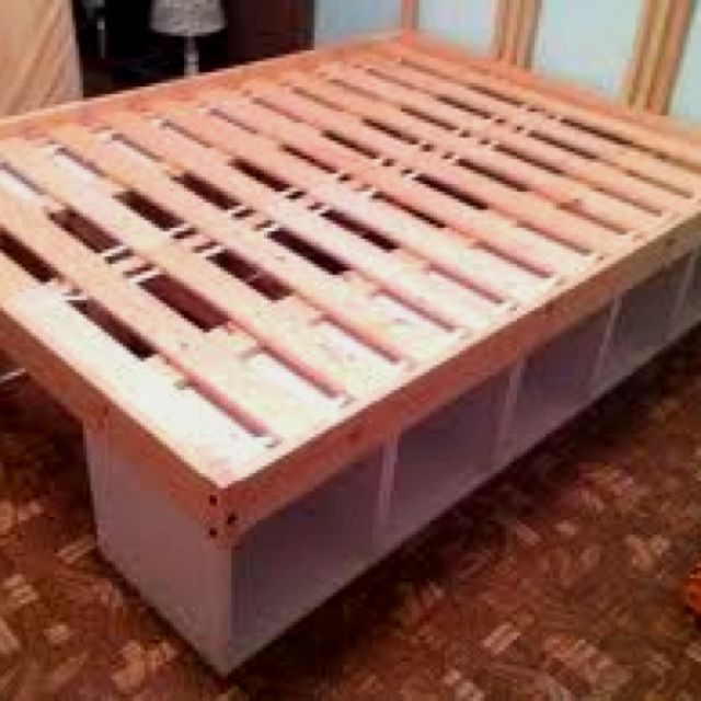diy bed frame with storage build pinterest