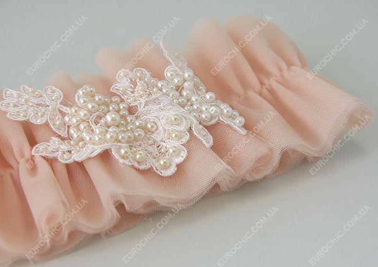 Свадебная подвязка невесты Ballet amour персиковая женственная нежная из воздушных оборок с кружевом, расшитым вручную бусинами от Шик Европейский