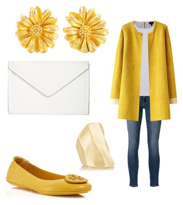 yellow fall/winter by tayken3 on Polyvore featuring polyvore fashion style Armani Jeans Frame Denim Tory Burch Isaac Mizrahi Givenchy Jennifer Fisher clothing