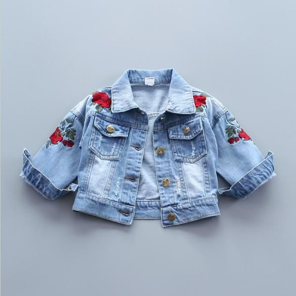 2017 Baby Girls Denim Jacket Vintage Jeans Jackets for Girl Toddler Baby Denim Jackets Girls Jean Jacket Rose Flower Embroidery #Affiliate