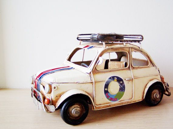 Battered Fiat car miniature with stripes and by AkatosCollectibles, $47.00