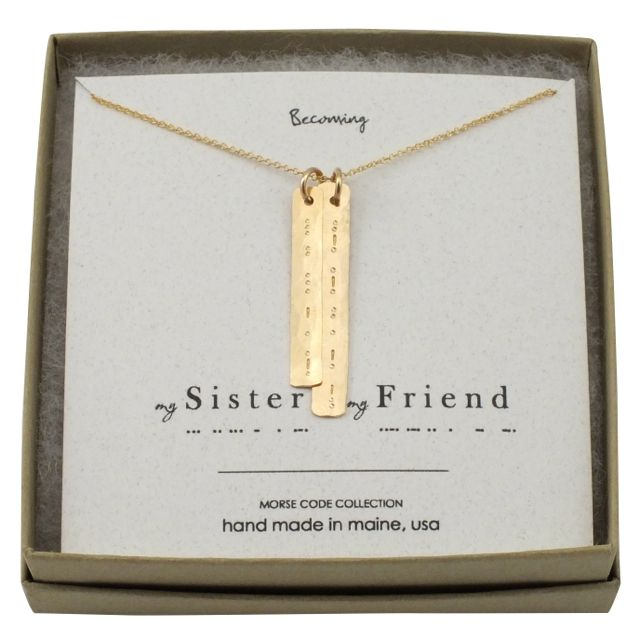 holiday gift pick : morse code sister necklace : sisters gift idea