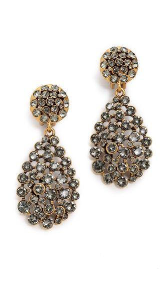 Oscar de la Renta Teardrop Earrings    COLOR IS BLACK DIAMOND