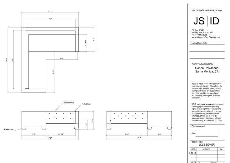 Plan And Elevation Of Sofa : Santa monica ca residence custom sofa design plan