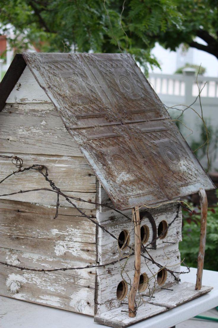 RUSTIC Utah Item # 7: Large rustic birdhouse with decorative tin roof, square, white