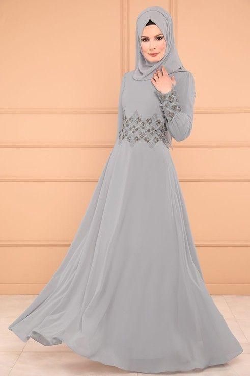6ad59f15b88f8 ABİYE Güpürü Taşlı Tesettür Abiye ALM52702-S Gri | my fashion in ...