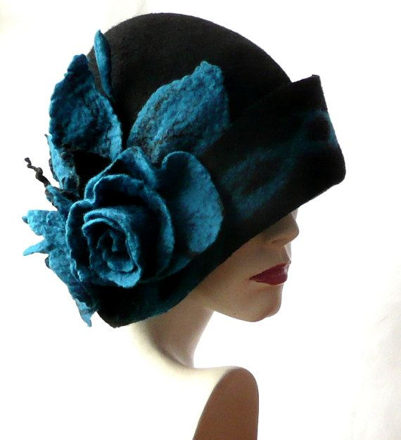 Black Felt Hat felted hat Cloche Hat 1920 Hat Art Hat Cloche