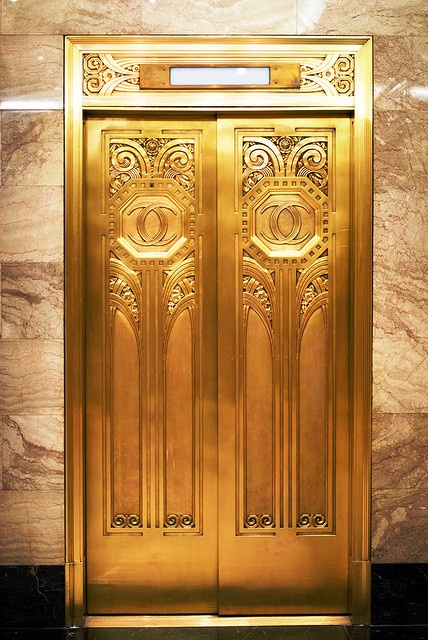 Elevator doors, Hard Rock Hotel, Chicago. BKA by Chicagoans as the old Carbide & Carbon building.
