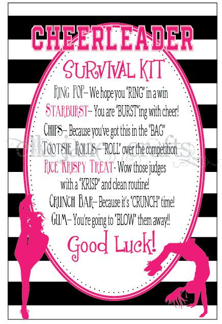 Cheerleading Competition Survival Kits Cheer Gifts PDF file  Good Luck gifts for cheerleader Team gifts from Ella Jane Crafts