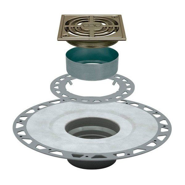 "Schluter Kerdi Drain Kit 4 Square Brushed Nickel Anodized Aluminum Grate - Pvc Flange With 2"" Drain Outlet"
