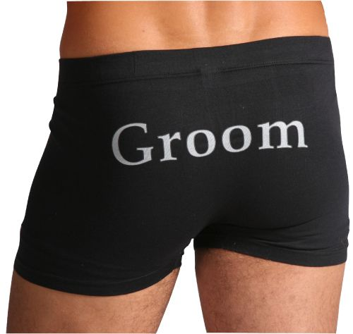Mens Bridal Party Black Underwear Trunks - Many Texts available. Modelled so well by the recent Bachelor. Make sure the Groom and Wedding party look great in the most comfortable underwear. All styles and sizes in stock now at www.miemporium.com.au