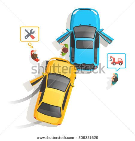 Car traffic accident top view. People standing and calling for help, repair and tow truck. Flat style vector illustration isolated on white background.