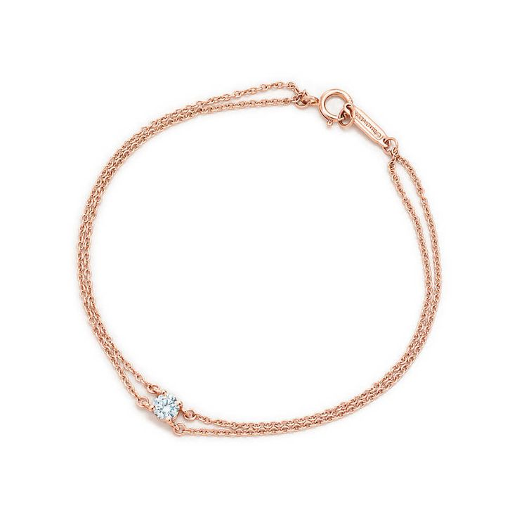 Tiffany solitaire diamond bracelet in 18k rose gold.