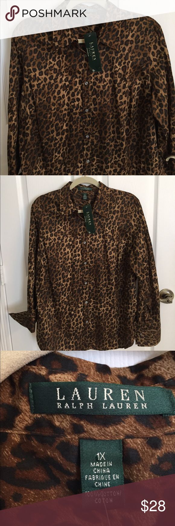 🆕Ralph Lauren Leopard print shirt in 100% Cotton Beautiful 100% Sateen Cotton Ralph Lauren long sleeve button down top. Very nice detailing and classy! Sleeves can be cuffed up or worn down. Bought it for myself but never got a chance to wear it as I lost weight 😊. New, never worn, with attached tag. Lauren Ralph Lauren Tops Button Down Shirts