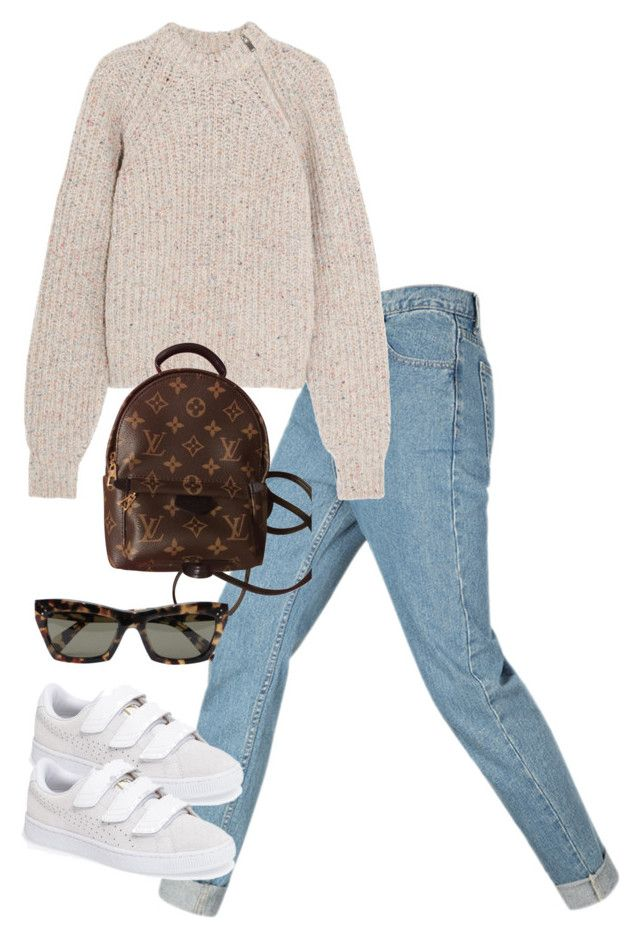 """Untitled #5098"" by theeuropeancloset ❤ liked on Polyvore featuring Étoile Isabel Marant, Louis Vuitton, Puma and CÉLINE"